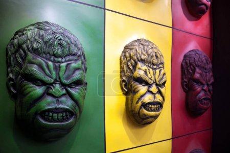 Hulk face colorful wall decoration at an amusement park