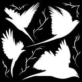 Bird silhouettes cut-out Decorations different poses and forms a pair of birds in the air over the branches for coloring