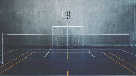 Photo pour Vue de face de la cour dans le gymnase, à l'intérieur moderne stade de bureau contemporain avec panier de basket et cerceau, but de football, court de tennis avec filet et marquage coloré, mur en béton en arrière-plan - image libre de droit