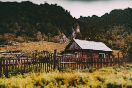 True tilt-shift view of old wooden rustic home in ...
