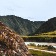 Beautiful mountain summer scenery with rocky flank...