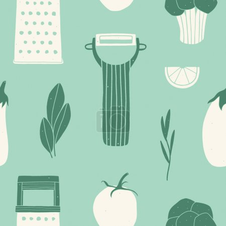Illustration for Cooking vector background. Utensils and vegetables. Surface design for kitchen - Royalty Free Image