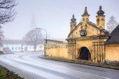 Historical centre on a foggy winter day. Guntersdorf, Lower Austria.