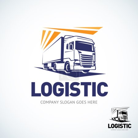 Illustration pour Modèle de logo de camion. Logo tour logistique. Illustration vectorielle isolée . - image libre de droit