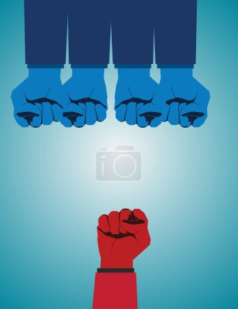 Illustration for Overcoming adversity and conquering challenges as a group of blue fist gloves ganging up on a single red fist as a business symbol of difficult competition environment. Vector flat - Royalty Free Image