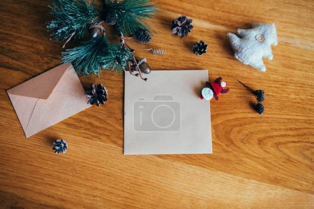 Christmas decorations with envelope and card