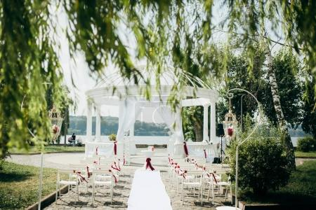 wedding arch for the ceremony in the summer