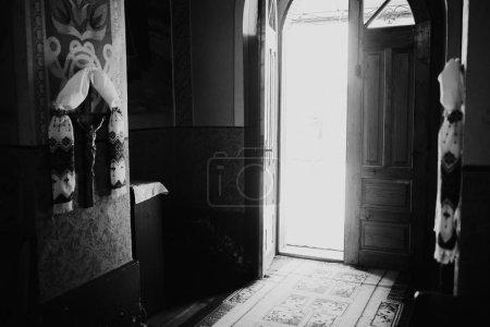 The open door of old orthodox church