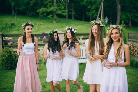 Girlfriends and bride celebrate hen party before the wedding