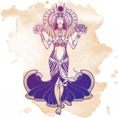 Illustration of libra zodiac sign as a beautiful Egyptian Goddess Vector