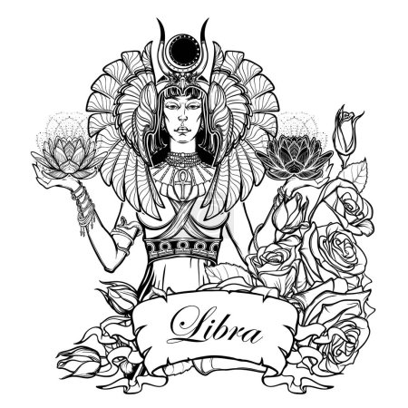 Illustration for Zodiac sign Libra. Egyptian goddess Isis balancing in hands black and white lotus as a symbol of equilibrium. Vintage art nouveau style concept art for horoscope or tattoo. EPS10 vector - Royalty Free Image