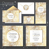 Christmas party invitations set with envelope template Cards have enough copy space Vector format