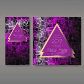 New Year party invitations set with envelope template Cards have enough copy space Vector format
