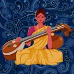 Vector design of artist playing Sitar folk music o...