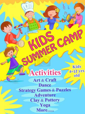 Banner poster design template for Kids Summer Camp activities