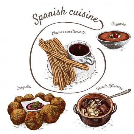 Menu of Spain colorful illustration.