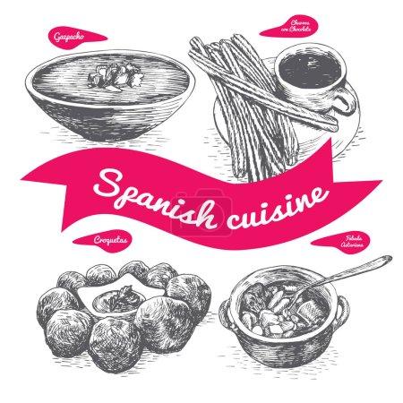 Menu of Spain monochrome illustration.