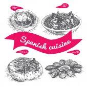 Menu of Spain monochrome illustration