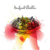 Seafood paella colorful watercolor effect illustration