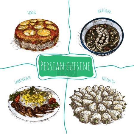 Iranian menu colorful illustration. Vector illustr...