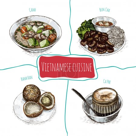Vietnamese menu colorful illustration.