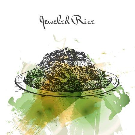 Illustration pour Illustration effet aquarelle Riz bijou. Illustration vectorielle de la cuisine persane . - image libre de droit