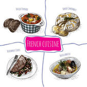 French menu colorful illustration