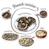 French menu colorful illustration