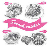 Monochrome vector illustration of French cuisine