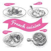 Monochrome vector illustration of French cuisine
