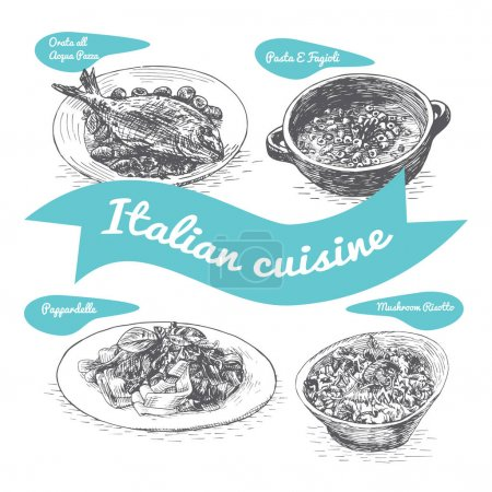 Monochrome vector illustration of Italian cuisine.