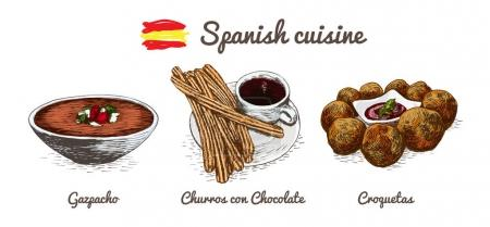 Spanish menu colorful illustration.