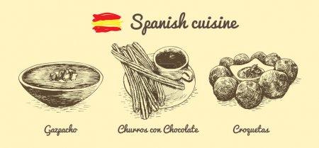 Spanish menu monochrome illustration.