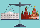 Vector flat style scales The White House Washington on one side and the Moscow Kremlin St Basils Cathedral on the otherThe conflict between America and Russia The concept of balance in