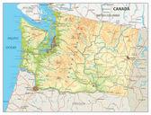 Physical map of Washington state