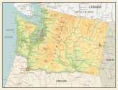 Retro color map of Washington state
