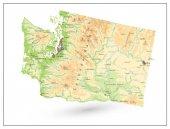 Physical map of Washington state isolated on white