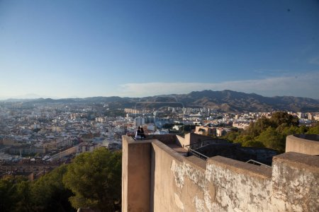 Observing view of Malaga city centre from Gibralfaro castle