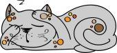 Illustration of sleeping cute cat