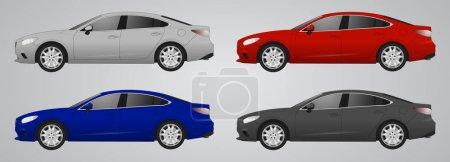 Illustration pour Ensemble de voiture de couleur différente, modèles de voiture réalistes, pour le web ou l'impression, logo, symbole, icône ou design peut être utilisé dans le domaine du service de réparation de moteurs, lavage de voiture, réparation, autoparts, voiture modèle SUV - image libre de droit