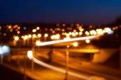 Evening city lights out of focus, bokeh