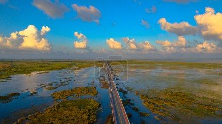 aerial view long bridge above the swamp