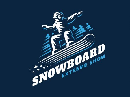 Snowboarding emblem Illustration on dark background