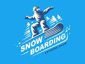Snowboarding emblem Illustration on blue background