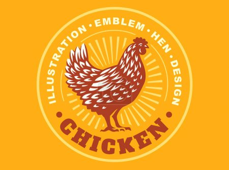 Beautiful chicken emblem on yellow background