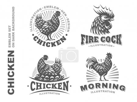 Illustration pour Set illustration de poulet emblème sur fond blanc - image libre de droit