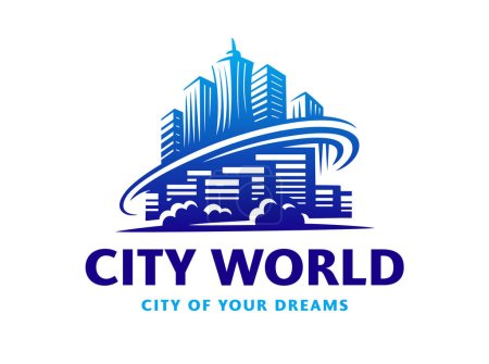 Illustration for City world logo - vector illustration, emblem design on white background - Royalty Free Image