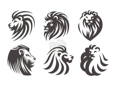 Illustration pour Ensemble logo tête de lion - illustrations vectorielles, motif emblème sur fond blanc - image libre de droit