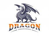 Dragon logo - vector illustration emblem on white background
