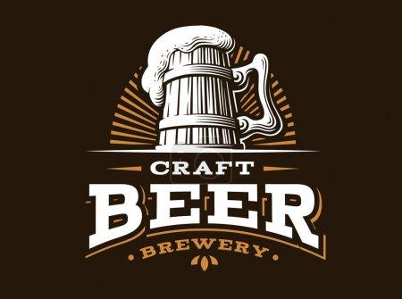 Illustration pour Logo de bière artisanal- illustration vectorielle, emblème brasserie design sur fond sombre - image libre de droit